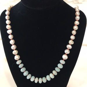 Jewelry - GORGEOUS Amazonite & Freshwater Nugget Pearl Nk!